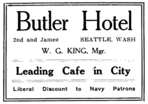 An ad for the Butler Hotel from a 1913 Navy publication.