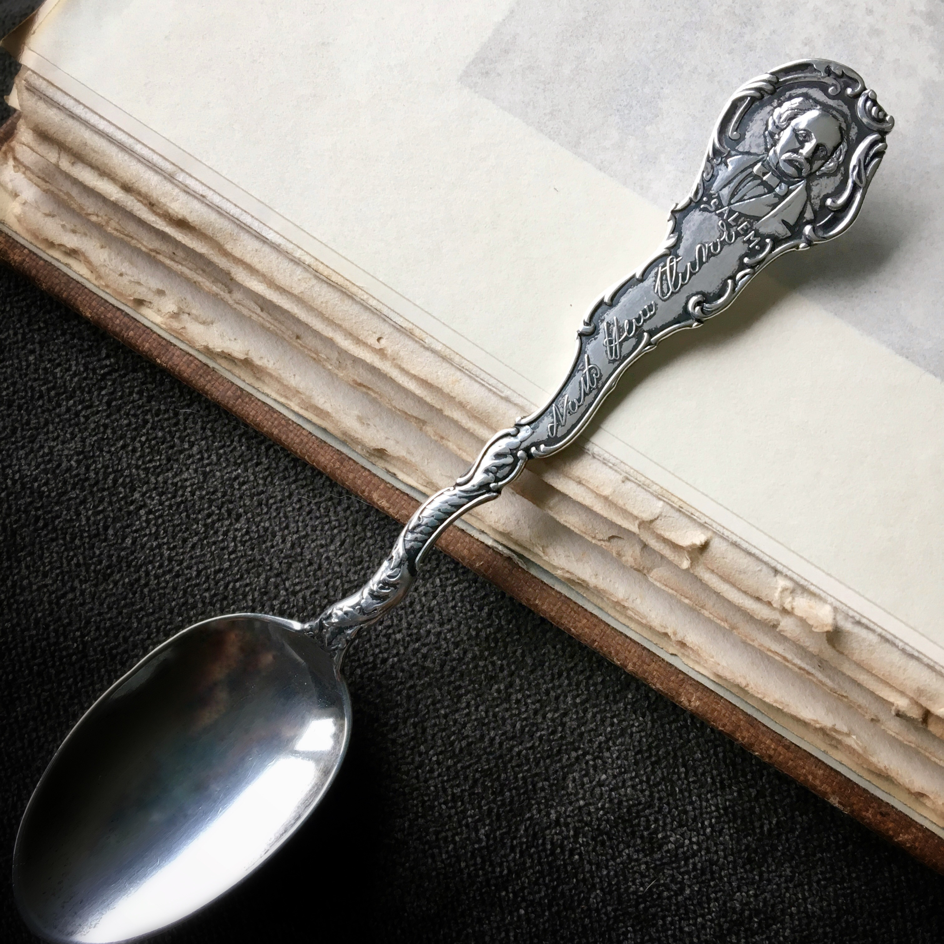 The Nathaniel Hawthorne Spoon (1891). Designed by Daniel Low, manufactured by Wm. B. Durgin & Co.